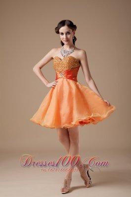 Orange Red Beaded Bodice A-line Prom Dress