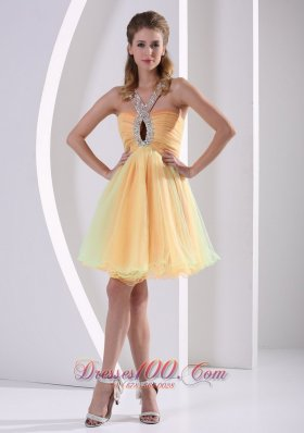 Beaded V Neck with Keyhole Colorful Prom Party Dress