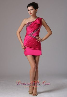 One Shoulder Ruched Bodice Prom Cocktail Dress
