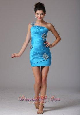 Diamond Pattern Baby Blue Prom Cocktail Dress