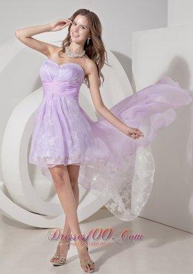 Light Lilac Princess Mini High-low Prom Dress