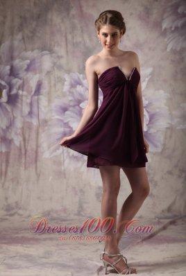 Beaded V-neck Dark Purple Prom / Cocktail Dress
