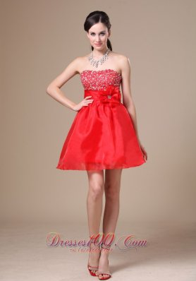 Beading Flower A-line Red Mini Wedding Dress