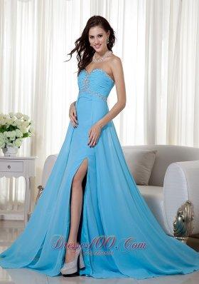 High Slit Empire Brush Beading Prom Celebrity Dress