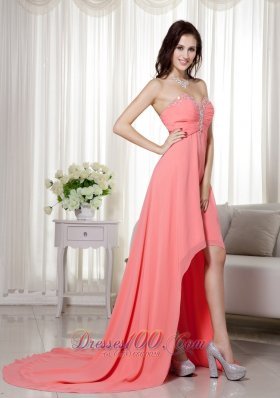 Empire High-low Prom / Celebrity Dress Beading Ruch