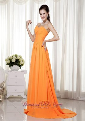Orange Brush Beading Ruch Prom Celebrity Dress