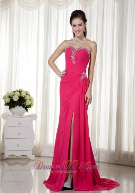 Sheath Sweetheart Brush Train Beading Prom Dress