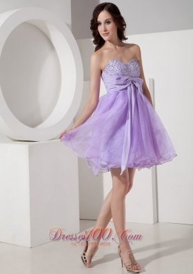 Princess Homecoming Dress Beading Mini Bow Lilac