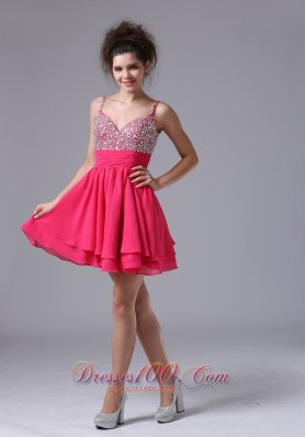 Beading Straps A-Line Cocktail Short Prom Dress