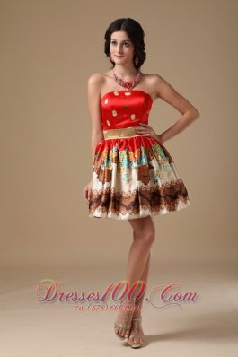 Multi-color A-line Mini Floral Printing Prom Holiday Dress