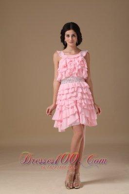 Piece Ruffles Scoop Mini Beading Prom Dress A-line