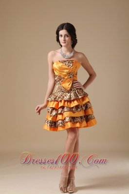 Multi-color Leopard and Taffeta Beading Prom Dress