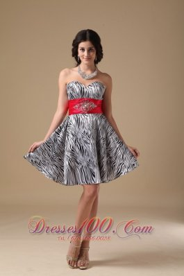 Zebra Beading Prom Holiday Dress Red Waistband A-line