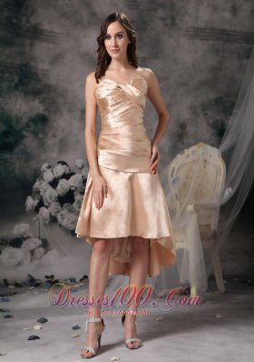 Champagne Column High-low Ruch Prom Dress