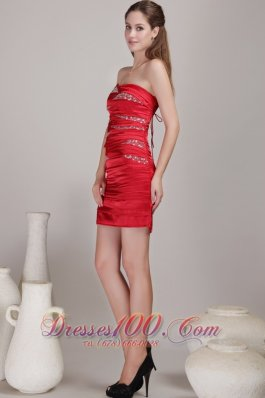 Red Sheath Strapless Ruched Beading Prom Dress