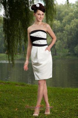 Column Strapless Mini Beading Graduation Homecoming Dress