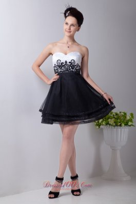 Black and White Appliques Prom / Homecoming Dress