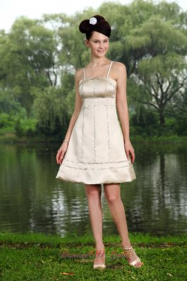 Spaghetti Straps Knee-length Beading Prom Homecoming Dress
