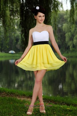 Yellow and White Empire Sash Prom Homecoming Dress