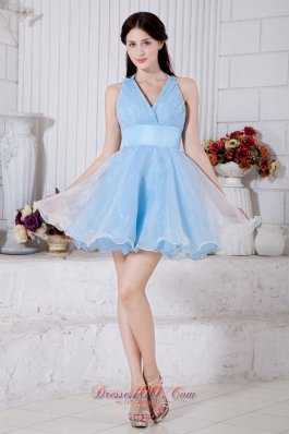 Princess V-neck Mini Pleat Prom / Homecoming Dress