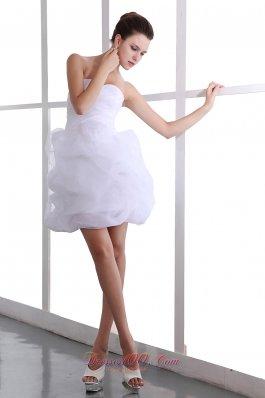 White Puffy Skirt Sweetheart Mini Flower Prom Graduation Dress