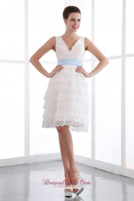 White Lace V-neck Mini Blue Sash Prom Party Dress