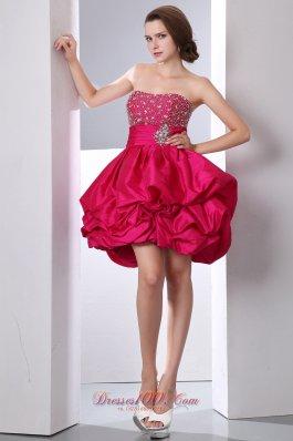Ruffles Puffy Mini Beading Bust Prom Dress