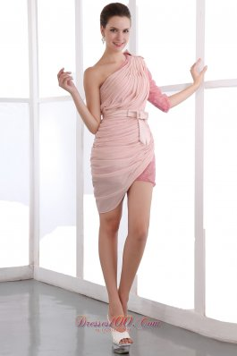 Sequin Half Sleeve One Shoulder Prom Dress Bow