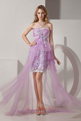 Hi Lo White AppliquesTaffeta andTulle Prom Dress