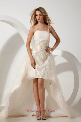 High-low Column Spaghetti Straps Wedding Dress