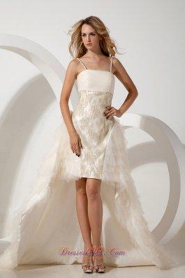 High-low Column Spaghetti Straps Wedding Dress