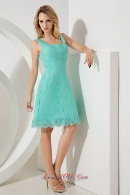 Turquoise Lace Princess Square Straps Bridesmaid Dress