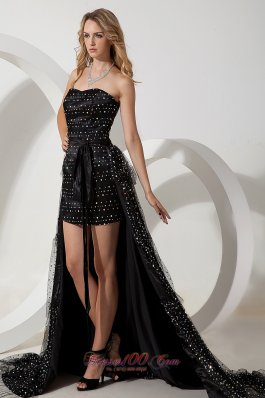 Black High-low Column Beading Belt Celebrity Dress