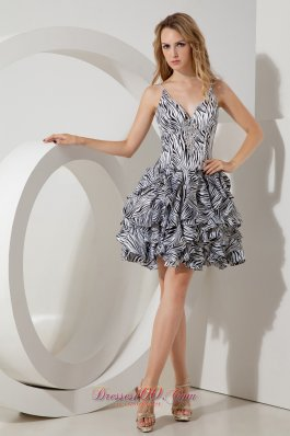 Straps Zebra Print Short Prom / Homecoming Dress