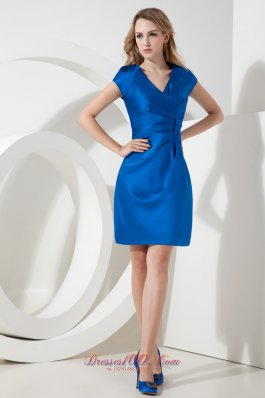 Royal Pen Style V-neck Cap Sleeves Bridesmaid Dress