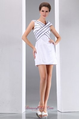 White and Black Cocktail Dress V-neck Column Mini