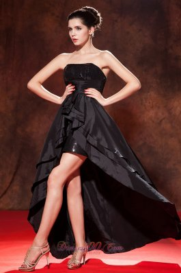 Black Princess High-low Prom Dress Squins Strapless