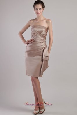 Chocolate Sheath Knee-length Pleats Mother Bride Dreses