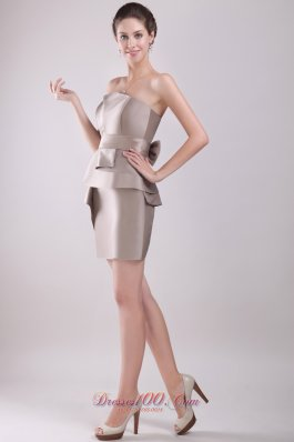 Grey Column Mini Bowknot Prom / Homecoming Dress