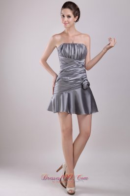 Grey A-line Mini Ruch Flowers Prom / Cocktail Dress