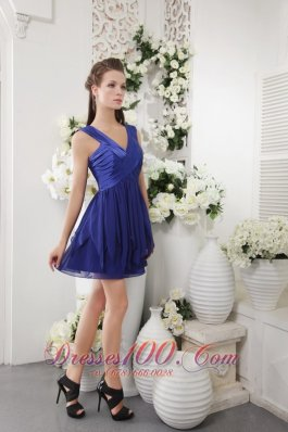 Navy Empire V-neck Short Ruch Bridesmaid Dress