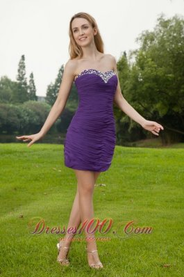 Purple Column Mini Ruch Beaded Prom Cocktail Dress