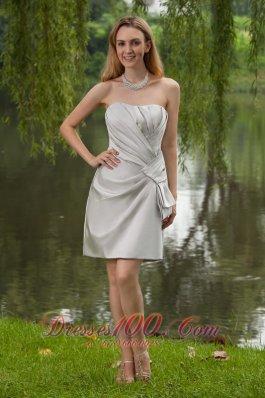 Grey Sheath Mini Ruch Bridesmaid Dress Strapless