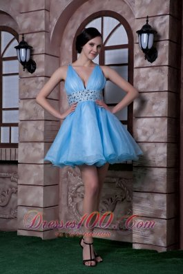 Aqua A-line Deep V-neck Beading Prom Homecoming Dress