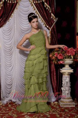 Olive Green Empire Tiers Brush Prom / Evening Dress