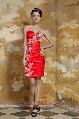 Red Petals Appliques Decor Column Mini Party Dress