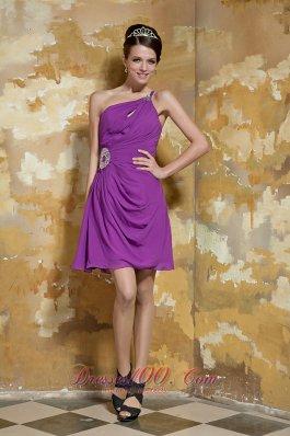 Lavender Empire One Shoulder Beading Prom Dress