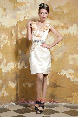 Pleated Flounced Hem Column Beading Prom Dress
