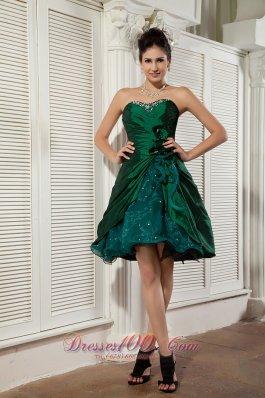 Dark Green Taffeta and Organza Prom / Homecoming Dress