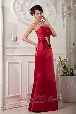 Details Front Red Mother Bride Dress Column Beading